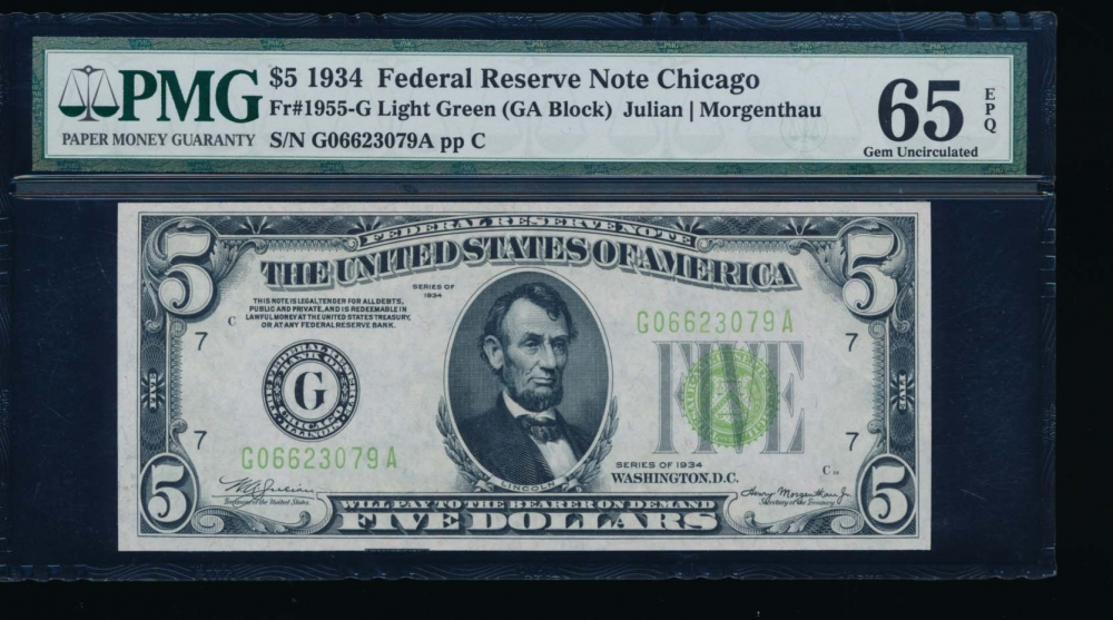 Fr. 1955-G 1934 $5  Federal Reserve Note Chicago LGS PMG 65EPQ G06623079A
