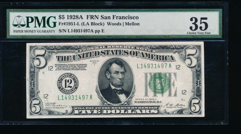 Fr. 1951-L 1928A $5  Federal Reserve Note San Francisco PMG 35 L14931497A