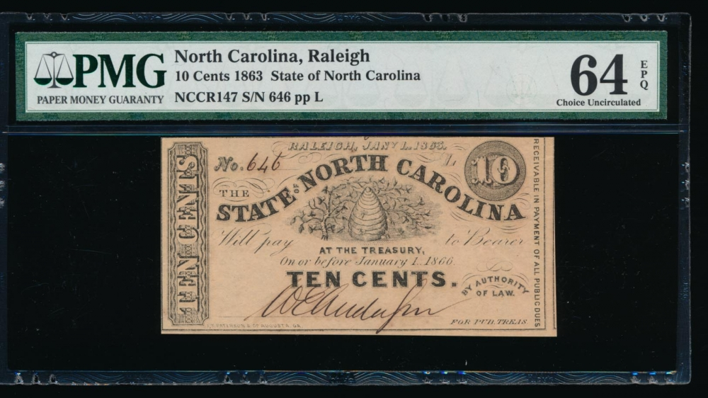 Fr. Cr NC-147 1863 $0.10  Obsolete State of North Carolina, Raleigh PMG 64EPQ 646L
