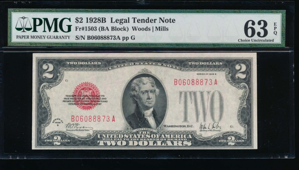 Fr. 1503 1928B $2  Legal Tender BA block PMG 63EPQ B06088873A