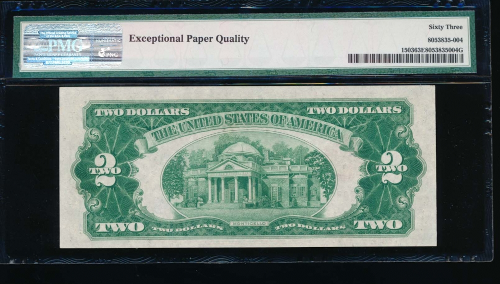 Fr. 1503 1928B $2  Legal Tender BA block PMG 63EPQ B06088873A reverse