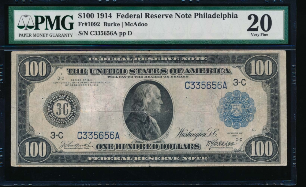 Fr. 1092 1914 $100  Federal Reserve Note Philadelphia PMG 20 comment C335656A