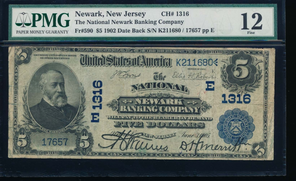Fr. 590 1902 $5  National: Date Back Ch #1316 The National Newark Banking Company, Newark, New Jersey PMG 15 17657