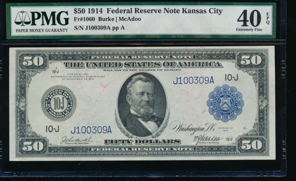 Fr. 1060 1914 $50  Federal Reserve Note Kansas City PMG 40EPQ J100309A