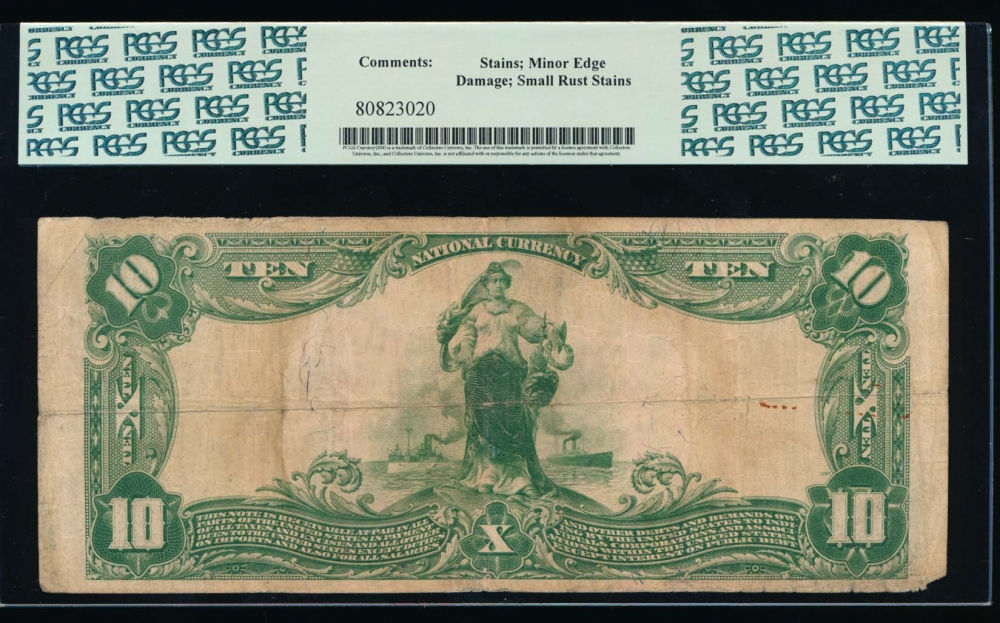 Fr. 626 1902 $10  National: Plain Back Ch #3663 The First National Bank of Gadsden, Alabama PCGS 15 comment 27779 reverse
