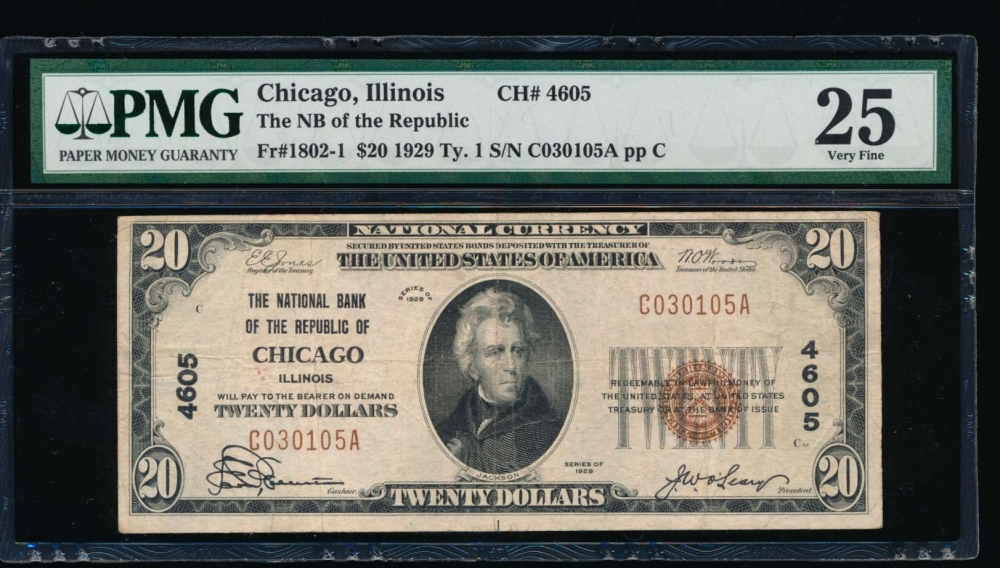 Fr. 1802-1 1929 $20  National: Type I Ch #4605 The Natinoal Bank of the Republic of Chicago, Illinois PMG 25 C030105A
