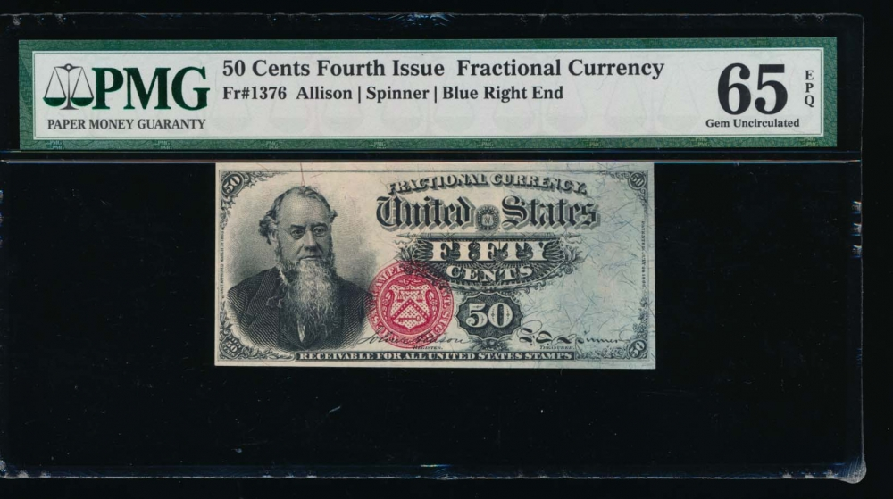 Fr. 1376 1869 $0.50  Fractional Fourth Issue: Blue Right End PMG 65EPQ no serial number