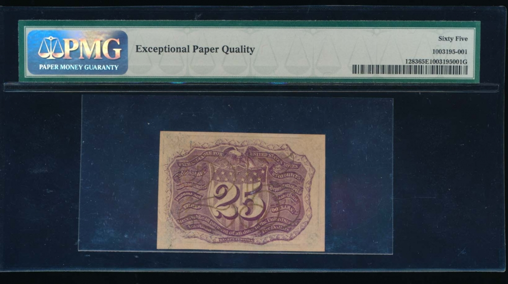 Fr. 1283  $0.25  Fractional Second Issue: No Surcharges PMG 65EPQ no serial number reverse
