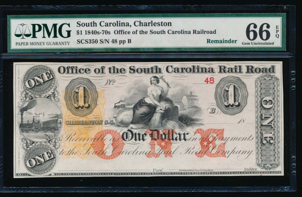 Fr. SCS350 1800s $1  Obsolete Office of the South Carolina Rail Road, Charleston, SC PMG 66EPQ 48B