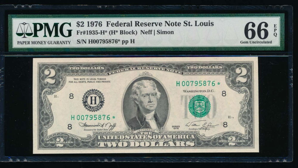 Fr. 1935-H 1976 $2  Federal Reserve Note Saint Louis star PMG 66EPQ H00795876*