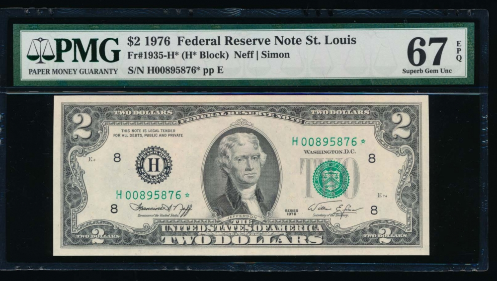 Fr. 1935-H 1976 $2  Federal Reserve Note Saint Louis star PMG 67EPQ H00895876*
