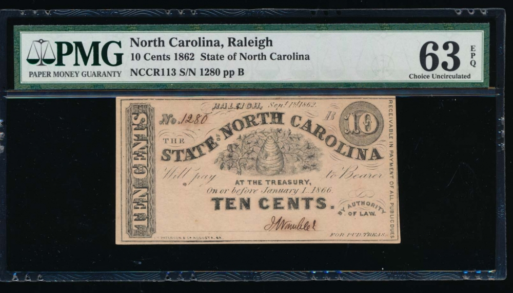 Fr. Cr NC-113 1862 $0.10  Obsolete State of North Carolina, Raleigh PMG 63EPQ 1280B
