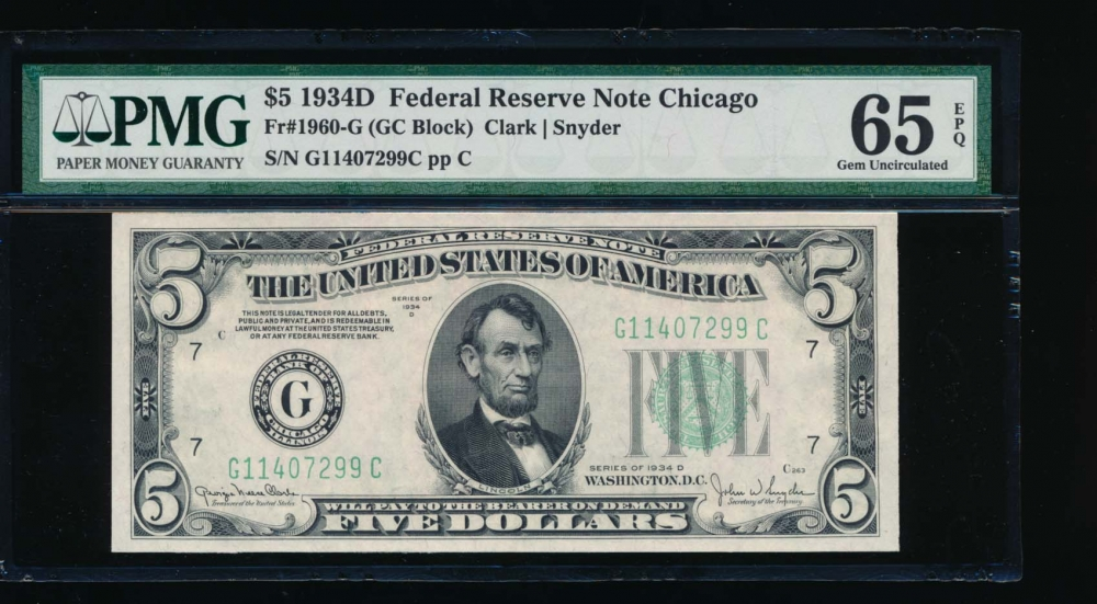 Fr. 1960-G 1934D $5  Federal Reserve Note GC block PMG 65EPQ G11407299C obverse