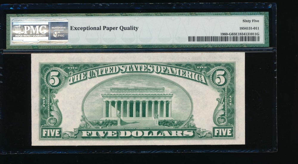 Fr. 1960-G 1934D $5  Federal Reserve Note GC block PMG 65EPQ G11407299C reverse