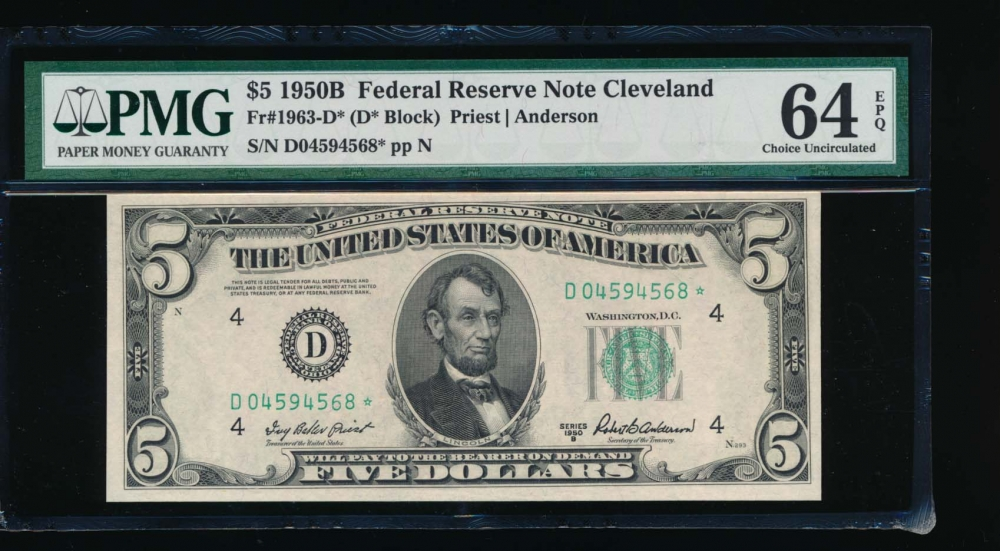 Fr. 1963-D 1950B $5  Federal Reserve Note Cleveland star PMG 64EPQ D04594568*