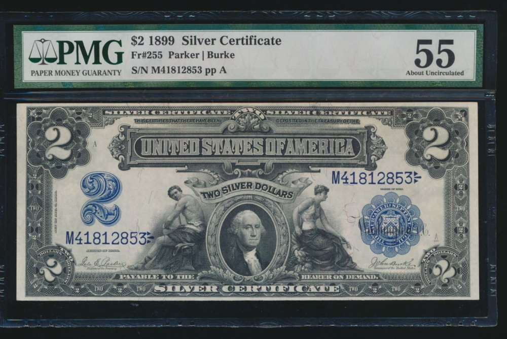 Fr. 255 1899 $2  Silver Certificate  PMG 55 M41812853 obverse