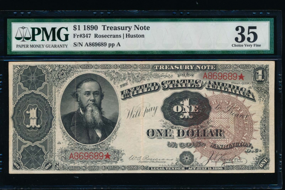Fr. 347 1890 $1  Treasury Note  PMG 35 A869689*