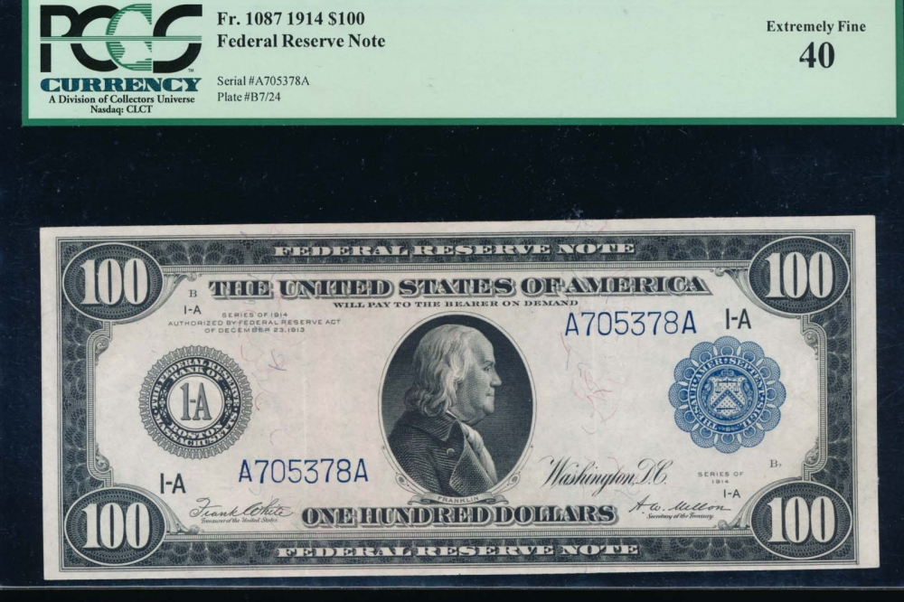Fr. 1087 1914 $100  Federal Reserve Note Boston PCGS 40 A705378A