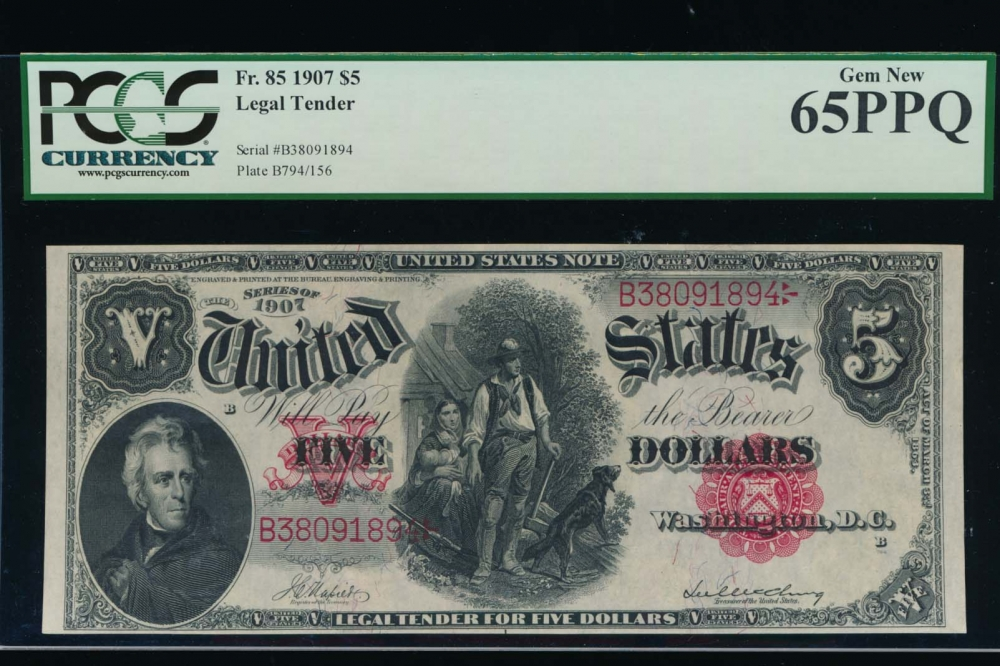 Fr. 85 1907 $5  Legal Tender  PCGS 65PPQ B38091894