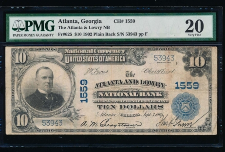 Fr. 625 1902 $10  National: Plain Back Ch #1559 The Atlanta and Lowry National Bank, Atlanta, Georgia PMG 25 53943