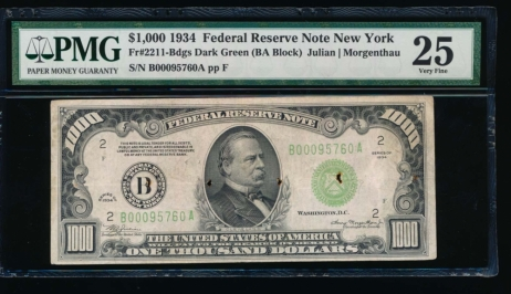 Fr. 2211-B 1934 $1,000  Federal Reserve Note New York LGS PMG 25 comment B00095760A