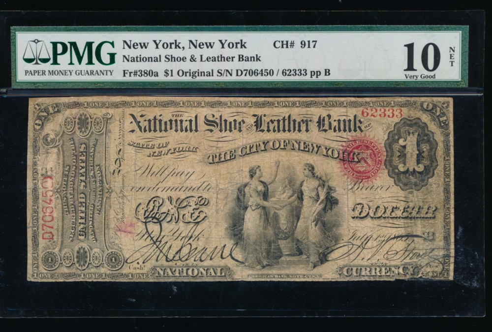 Fr. 380a 1865 $1  National: Original Series Ch #917 The National Shoe and Leather Bank of the City of New York, New York