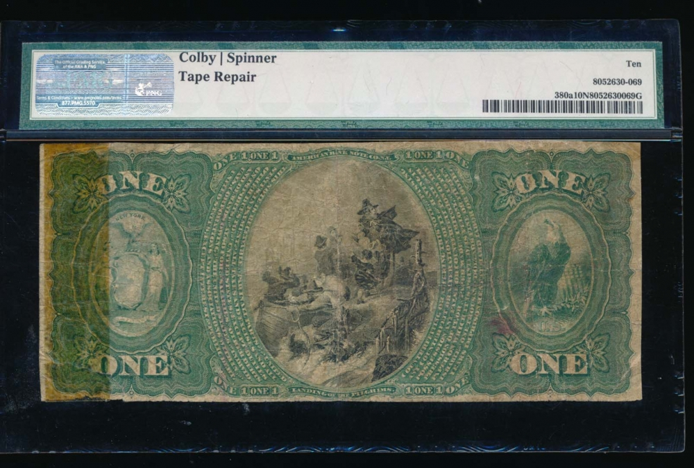 Fr. 380a 1865 $1  National: Original Series Ch #917 The National Shoe and Leather Bank of the City of New York, New York   reverse