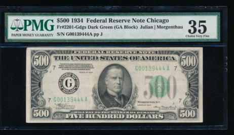 Fr. 2201-G 1934 $500  Federal Reserve Note Chicago PMG 35 G00139444A