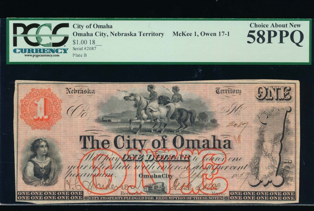 Fr. NEC 121 1857 $1  Scrip The City of Omaha, Nebraska Territory PCGS 58PPQ 2087B