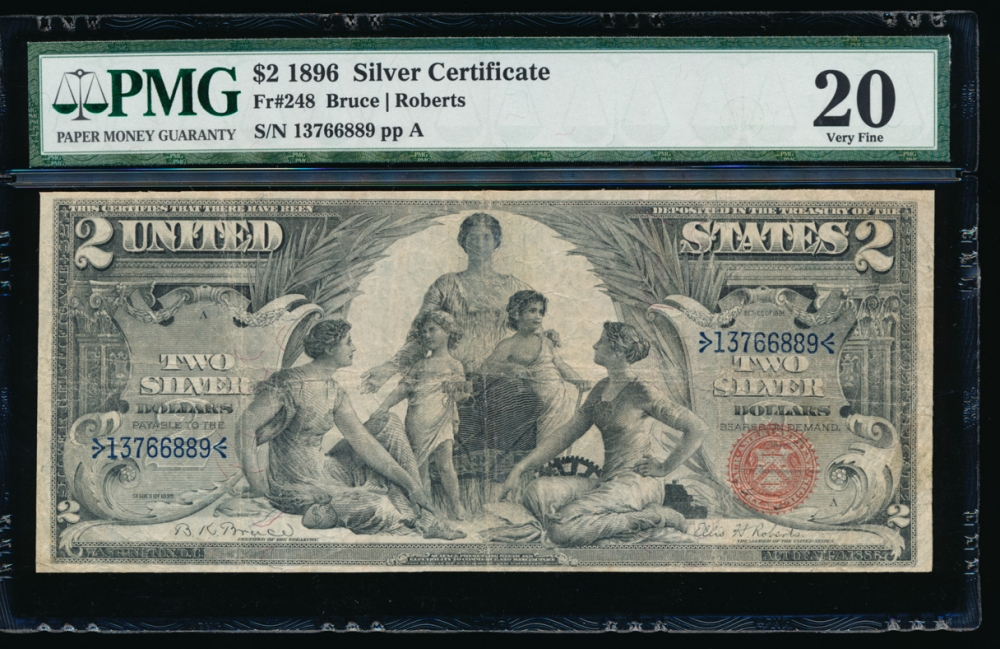 Fr. 248 1896 $2  Silver Certificate  PMG 20 13766889