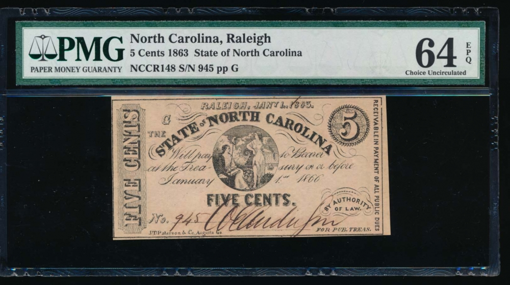 Fr. CR NC-148 1863 $0.05  Obsolete State of North Carolina, Raleigh PMG 64EPQ 945G