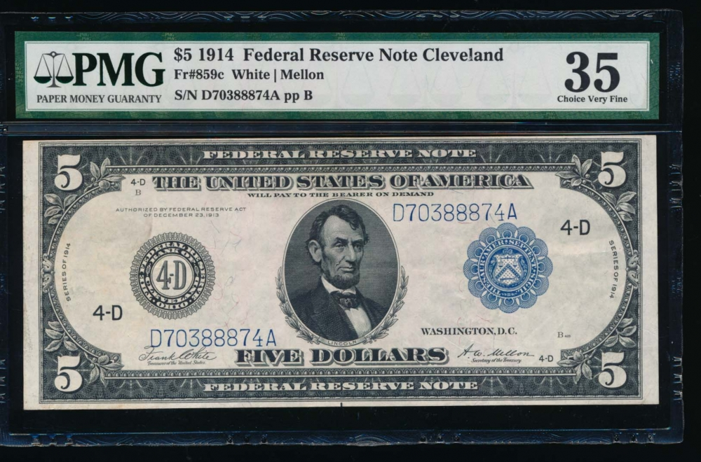 Fr. 859c 1914 $5  Federal Reserve Note Cleveland PMG 35 D80388874A