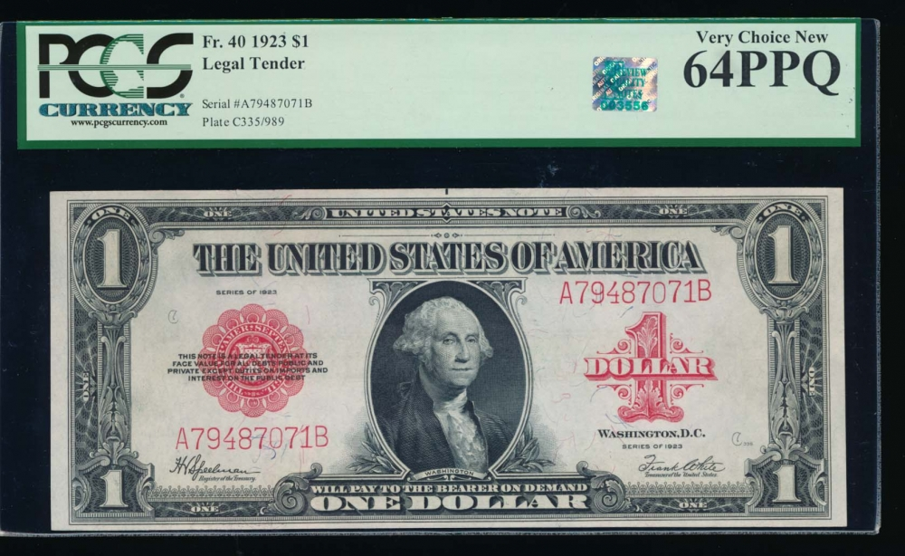 Fr. 40 1923 $1  Legal Tender  PCGS 64PPQ RQN A79487071B