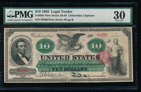 Fr. 95b 1863 $10  Legal Tender  PMG 30 comment 49-90298
