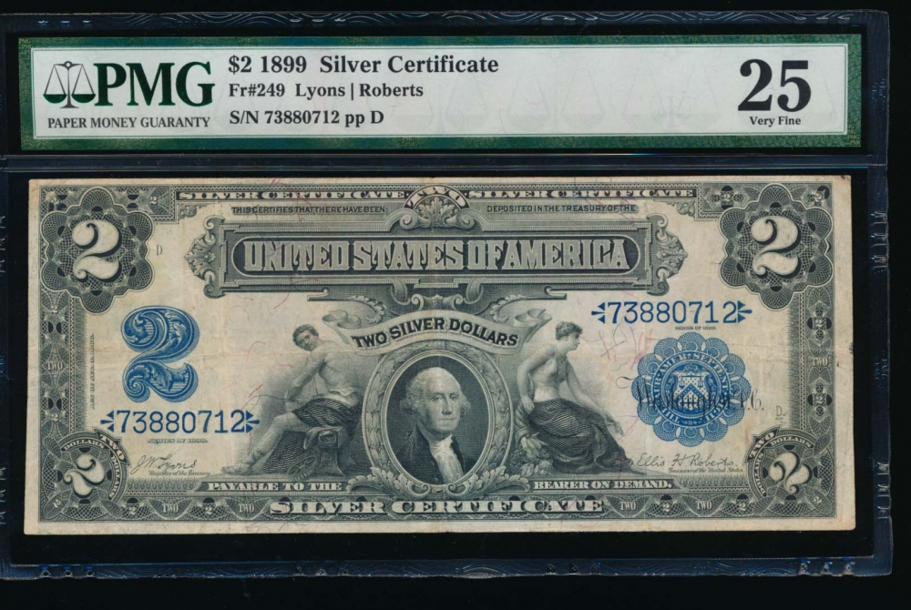 Fr. 249 1899 $2  Silver Certificate  PMG 25 73880712