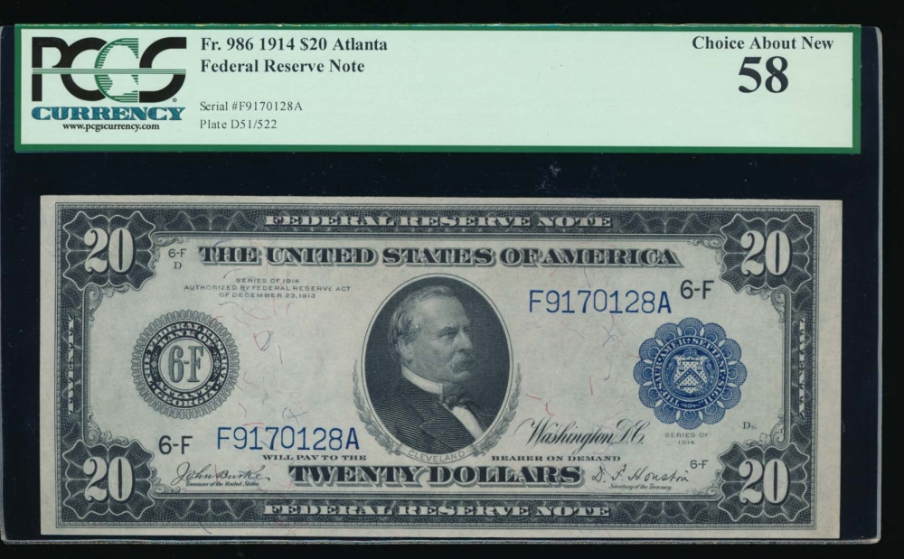 Fr. 986 1914 $20  Federal Reserve Note Atlanta PCGS 58 F9170128A