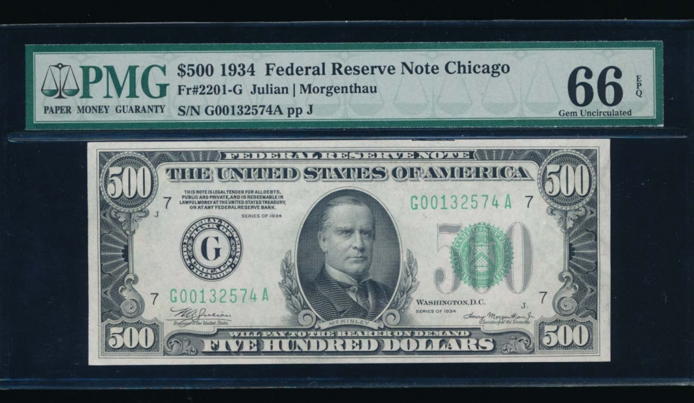 Fr. 2201-G 1934 $500  Federal Reserve Note Chicago PMG 66EPQ G00132574A