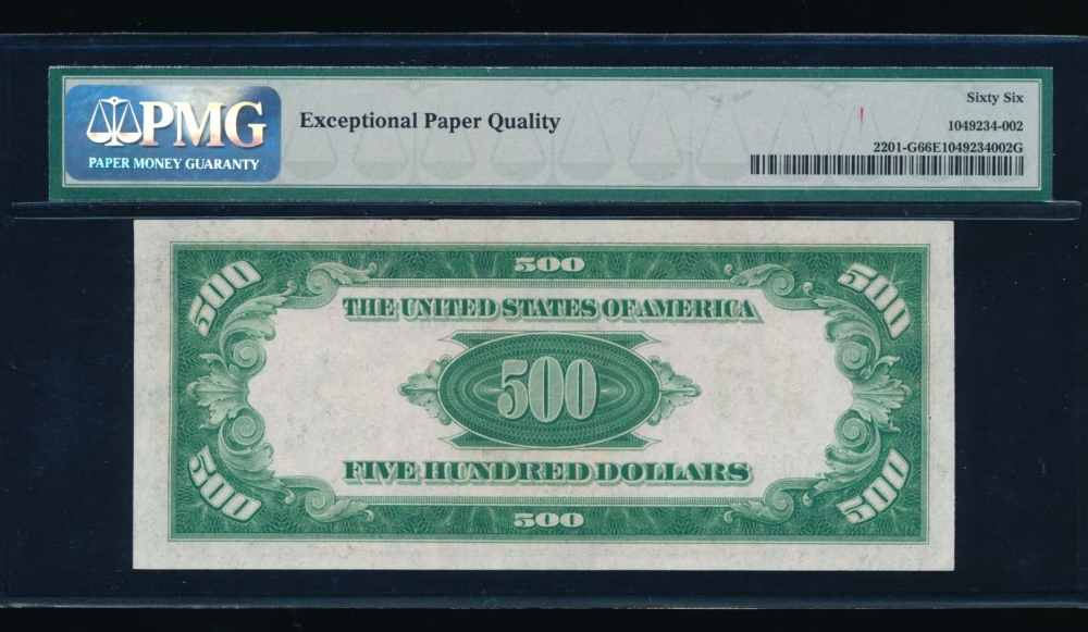Fr. 2201-G 1934 $500  Federal Reserve Note Chicago PMG 66EPQ G00132574A reverse