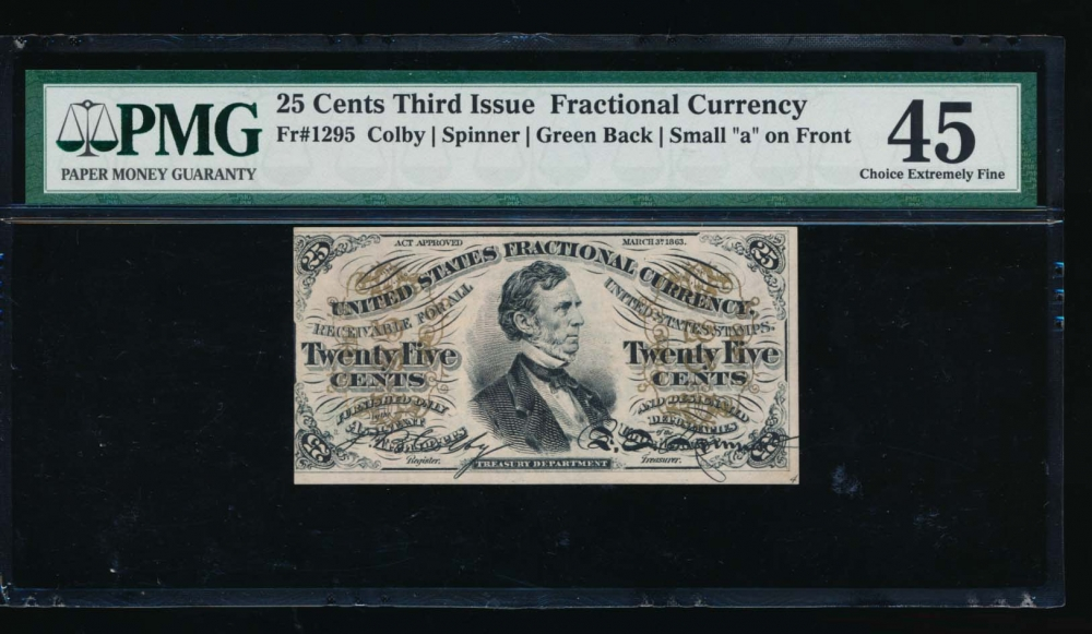 Fr. 1295  $0.25  Fractional 3rd Issue; Green back,
