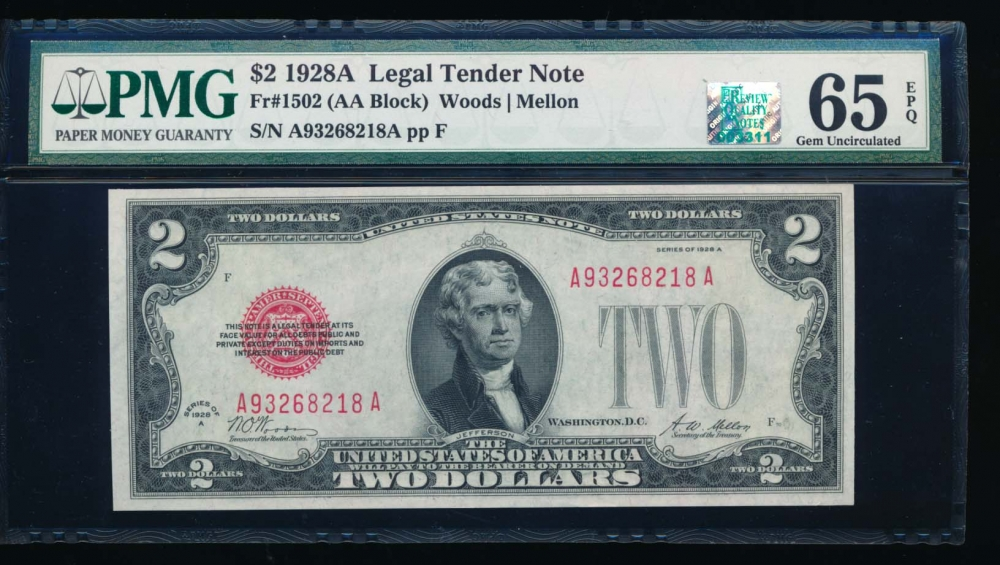 Fr. 1502 1928A $2  Legal Tender AA block PMG 65EPQ RQN A93268218A obverse