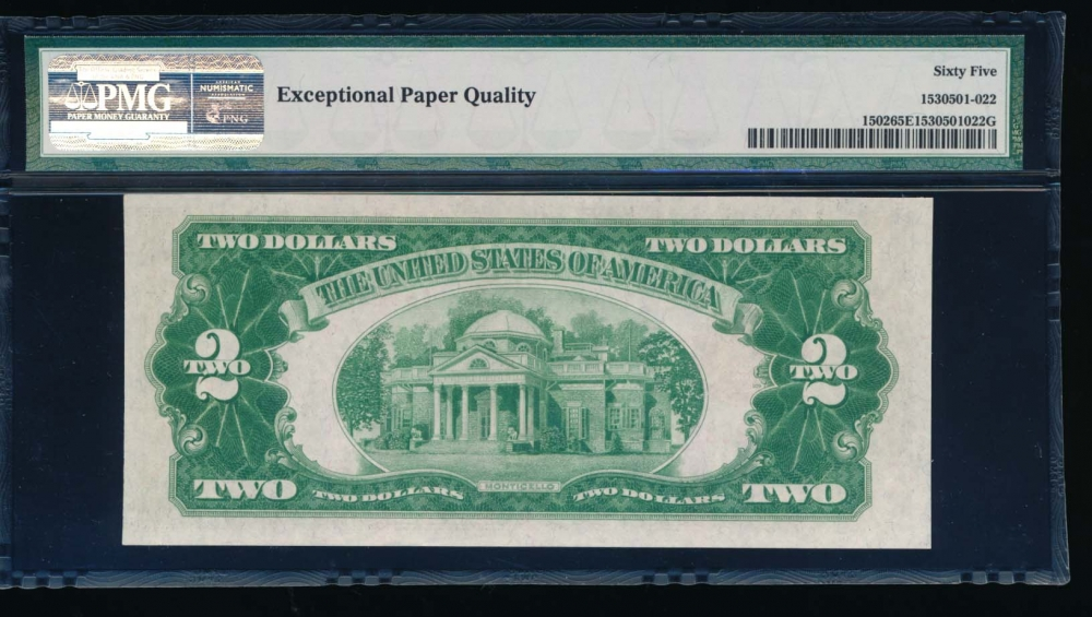 Fr. 1502 1928A $2  Legal Tender AA block PMG 65EPQ RQN A93268218A reverse