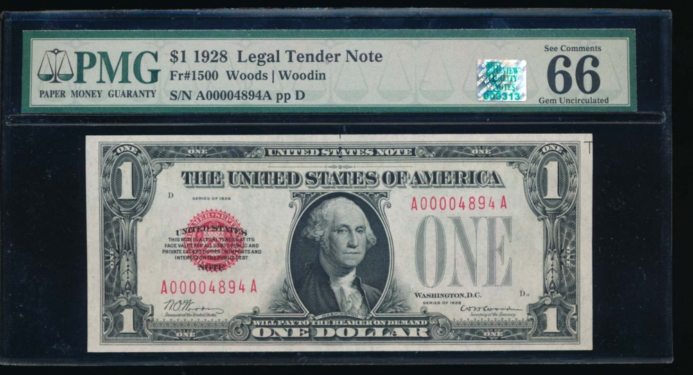 Fr. 1500 1928 $1  Legal Tender low serial number PMG 66EPQ RQN A00004894A