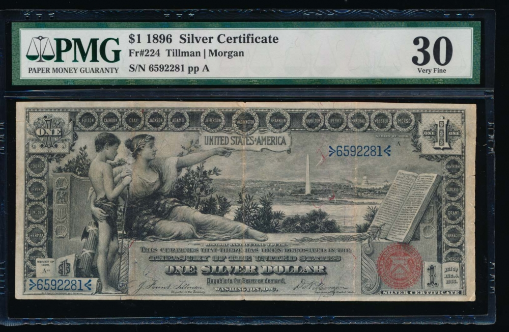 Fr. 224 1896 $1  Silver Certificate  PMG 30 6592281