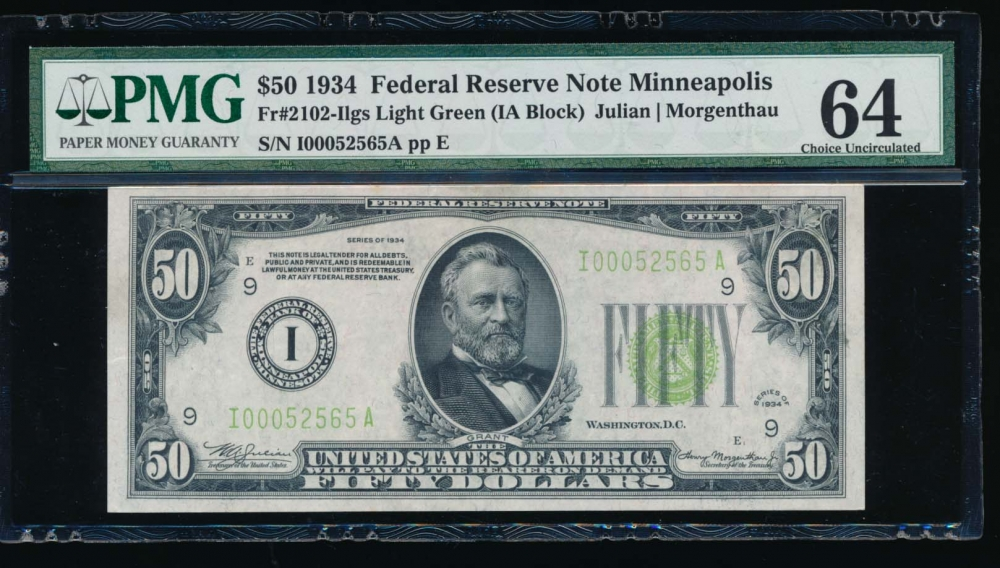 Fr. 2102-I 1934 $50  Federal Reserve Note Minneapolis LGS PMG 64 I00052565A