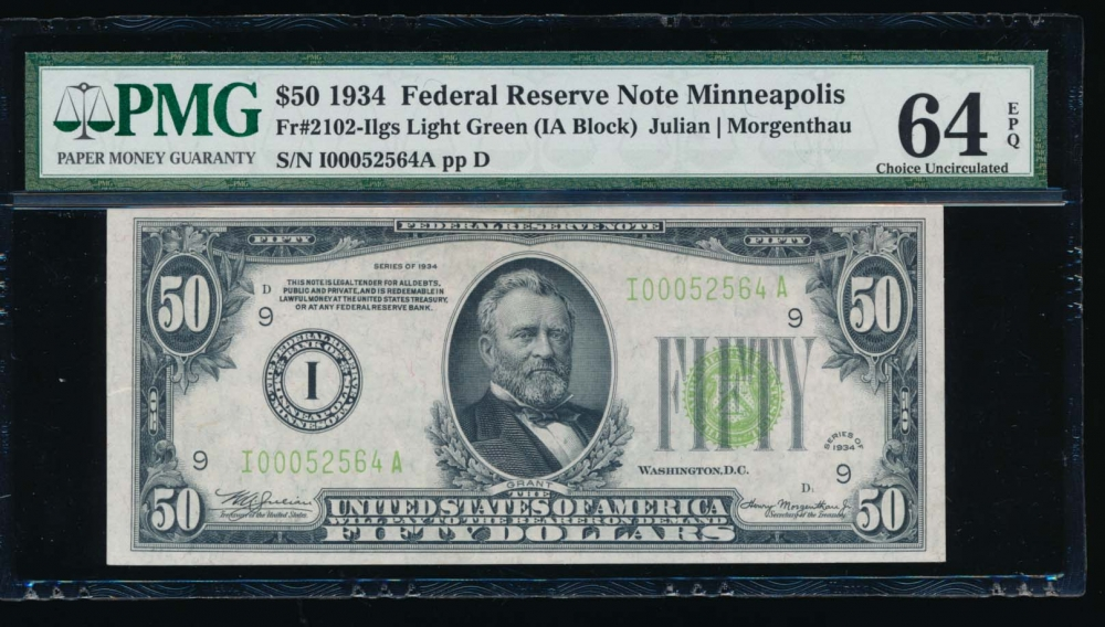 Fr. 2102-I 1934 $50  Federal Reserve Note Minneapolis LGS PMG 64EPQ I00052564A