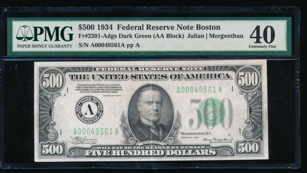 Fr. 2201-A 1934 $500  Federal Reserve Note Boston PMG 40 A00049561A