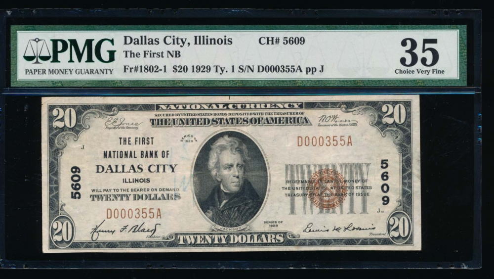 Fr. 1802-1 1929 $20  National: Type I Ch #5609 The First National Bank of Dallas City, Illinois PMG 35 comment D000335A