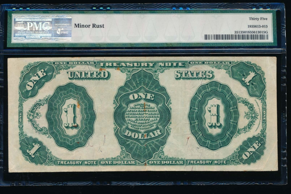 Fr. 351 1891 $1  Treasury Note  PMG 35 comment B33097792 reverse
