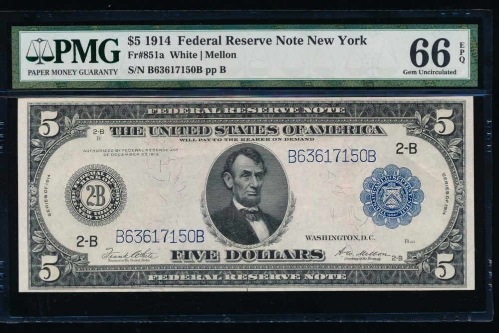 Fr. 851a 1914 $5  Federal Reserve Note New York PMG 66EPQ B63617150B