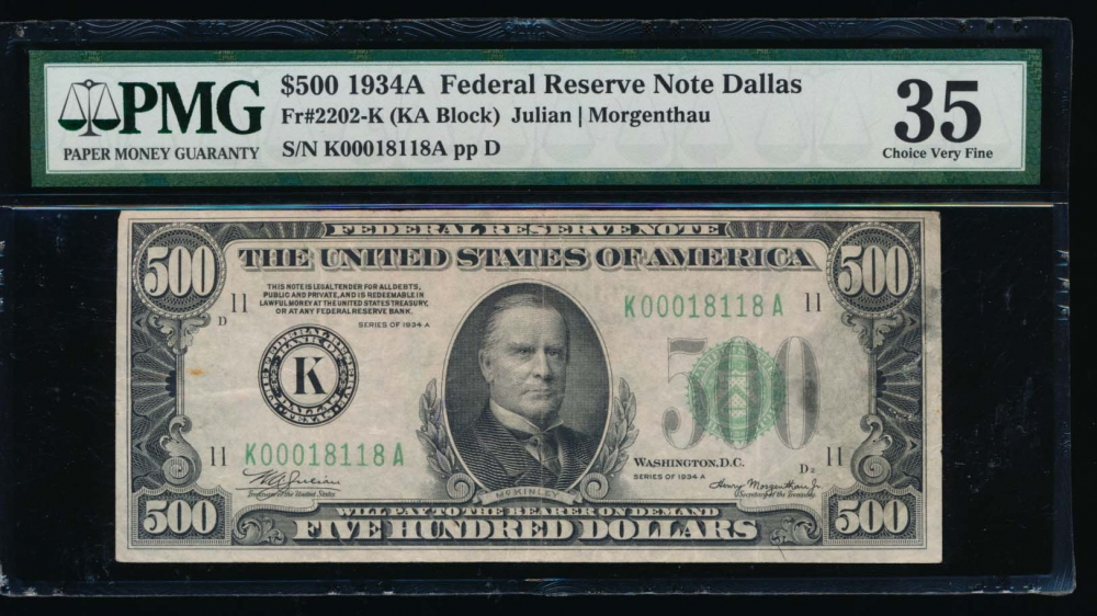 Fr. 2202-K 1934A $500  Federal Reserve Note Dallas PMG 35 comment K00018118A